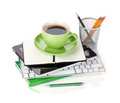 Coffee cup and office supplies Stock Photos