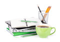 Coffee cup and office supplies isolated on white background Stock Image