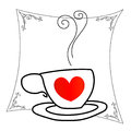 Coffee Cup With Red Hearts Han...