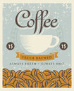 Coffee cup retro banner with and beans Stock Image