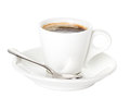 Coffee cup and saucer with a spoon Royalty Free Stock Photo
