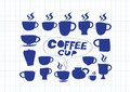 Coffee cup set hand drawing an images of Stock Image
