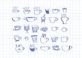 Coffee cup set hand drawing an images of Royalty Free Stock Photo