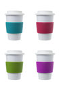 Coffee cup with silicone holder colorful Stock Photos