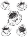 Coffee cup sketches sketchy hand drawn Royalty Free Stock Photos