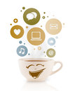Coffee cup with social and media icons in colorful bubbles isolated on white Royalty Free Stock Photo