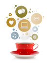 Coffee cup with social and media icons in colorful bubbles isolated on white Royalty Free Stock Image