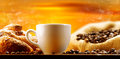 Coffee cup of steaming in the morning Royalty Free Stock Image