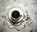 The coffee Cup on the stone stand. Royalty Free Stock Photo