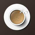 Coffee cup top view vector illustration.