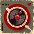 Coffee cup with vinyl record. Lounge cafe bar vintage illustration. Vector retro style. Royalty Free Stock Photo