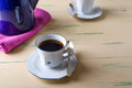 Coffee cup on wood table Royalty Free Stock Photos