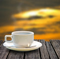 Coffee cup on the wooden table Stock Photography
