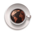 Coffee cup world map white background Royalty Free Stock Image