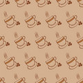 Coffee cups and beans seamless pattern Stock Images