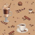 Coffee cups and chocolate sweets seamless pattern with illustrations of cup Stock Photo