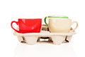 Coffee cups cupholder white background Royalty Free Stock Images