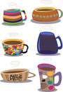 Coffee cups group of filled with Royalty Free Stock Photography