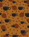 Coffee Cups and Kettles Classic Wallpaper Royalty Free Stock Photography