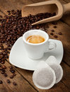 Coffee cups with pods Royalty Free Stock Photo