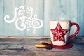 Coffee cups retro photo of cute mug with cookies Stock Images