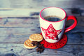 Coffee cups retro photo of cute mug with cookies Royalty Free Stock Image