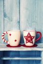 Coffee cups retro photo of two cute Royalty Free Stock Photos