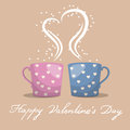 Coffee cups retro vector illustration of two cute Stock Photos