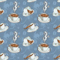 Coffee cups seamless pattern Stock Image