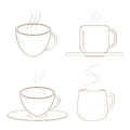 Coffee cups with steam. Sketch. Royalty Free Stock Photo