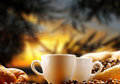 Coffee cups of steaming in the early morning Stock Photography