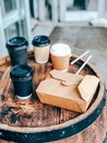 Coffee cups and street food craft paper container Royalty Free Stock Photo