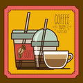 Coffee design over brown background vector illustration Stock Photography