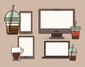 Coffee design over brown background vector illustration Royalty Free Stock Photo