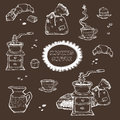Coffee and dessert vector set illustration. Food elements isolated on dark background. Grinder, cup, muffins, chocolate