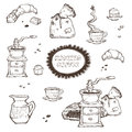 Coffee and dessert vector set illustration. Food elements isolated on white background. Grinder, cup, muffins, chocolate