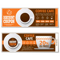 Coffee discount coupon or gift voucher. Vector template Royalty Free Stock Photo