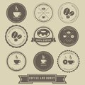 Coffee and donut label design with vintage style Royalty Free Stock Photo