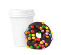 Coffee and donut to go cup chocolate Royalty Free Stock Photos