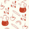 Coffee doodle pattern Royalty Free Stock Photos