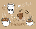 Coffee doodles collection of hand drawn pictures of cups Royalty Free Stock Photo
