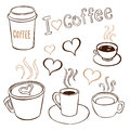 Coffee doodles collection of hand drawn pictures of cups Stock Photo