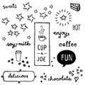 Coffee doodles fun shop or bakery related sketches Royalty Free Stock Photos