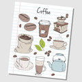 Coffee doodles lined paper illustration of colored on Stock Photos
