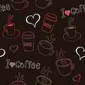 Coffee doodles seamless pattern with hand drawn cups Stock Image