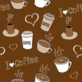 Coffee doodles seamless pattern with hand drawn cups Royalty Free Stock Image