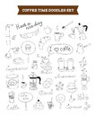 Coffee doodles vector elements set of hand drawn illustration of sketch isolated on white background Royalty Free Stock Images