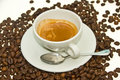 Coffee Espresso with Coffee bean. Royalty Free Stock Photos