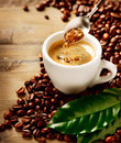 Coffee espresso cup of and brown sugar Royalty Free Stock Photos
