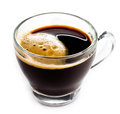 Coffee espresso in glass cup with foam white background small closeup Royalty Free Stock Images